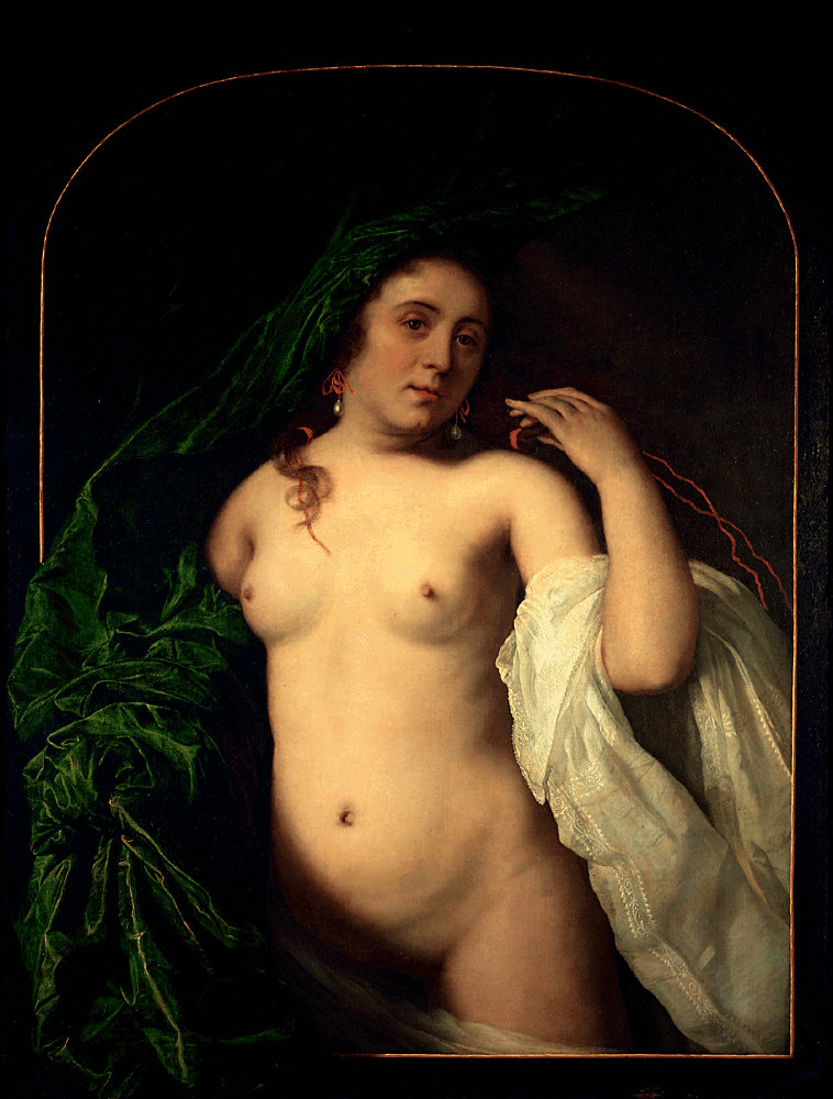 A Nude Young Woman behind a Draped Curtain